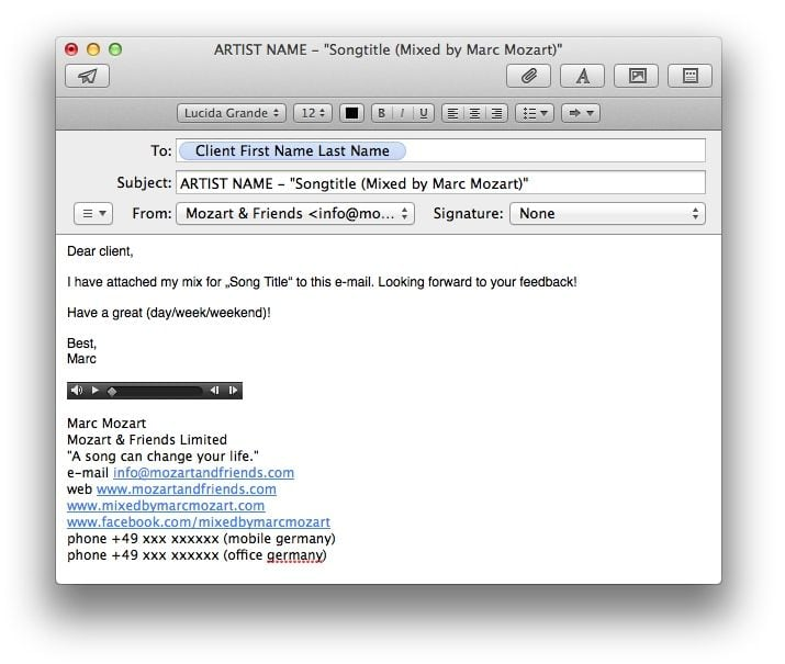 Client Mix Feedback Example E-Mail Marc Mozart
