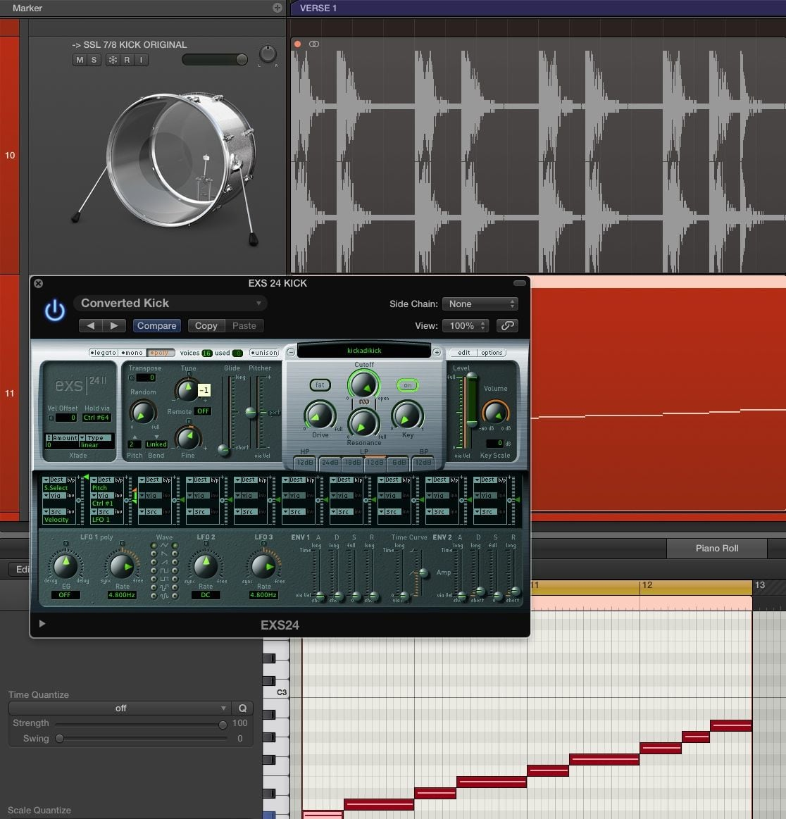Mixing Kicks: Logic Pro X, Convert to new Sampler Track and tune in EXS24